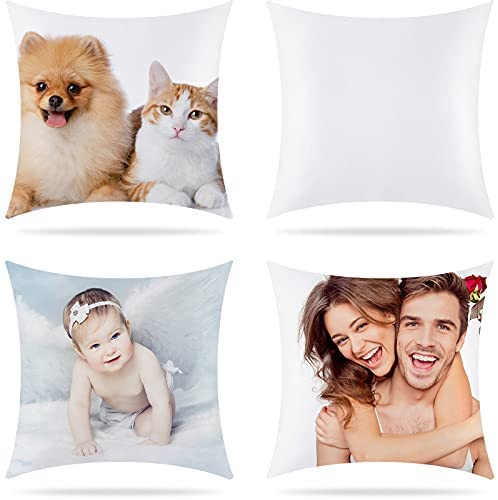 Read more about the article 4 Pieces Sublimation Pillow Case Heat Transfer Polyester Peach Skin Pillow Cover with Invisible Zipper for DIY Printing Sofa Decor, 16 x 16 Inch