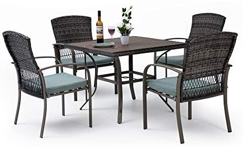 Read more about the article Pamapic 5 Piece Patio Dining Set, Outdoor Dining Table Set, Patio Wicker Furniture Set with Square Plastic-Wood Table Top and Washable Cushions for Patio Garden Poolside(Green)