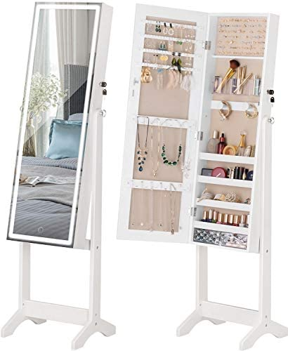 Read more about the article LUXFURNI LED Light Jewelry Cabinet Standing Full Screen Mirror Makeup Lockable Armoire, Large Cosmetic Storage Organizer w/ Brush Holder White (White)