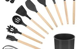 17- Piece Kitchen Silicone Cooking Utensils Set wtih Holder,Silicone Spatula Spoon Ladle Turner Skimmer for Nonstick Cookware, Kitchen Tools Gadgets with Wooden Handle (BPA Free) (black)