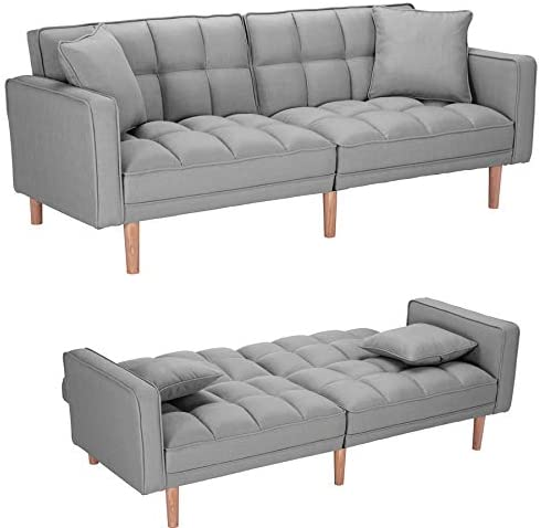 Read more about the article Convertible Sleeper Sofa Bed Modern Futon Sofa Couch,Sectional Sofa,Fabric Recliner Back and Armrest Sofa Couch with 2 Pillows for Living Room, Bedroom, Office,Light Grey