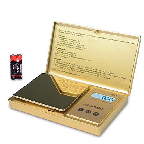 Read more about the article WEIGHTMAN Digital Scale Gram, 200g/0.01g Pocket Scale Gold Titanium Plating, LCD Backlit Display, Mini Jewelry Scale with 6 Units, Auto Off, Tare Function for Food, Herb, Coins, Battery Included