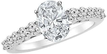 Read more about the article 3.75 Ctw 14K White Gold Graduating Classic Oval Cut GIA Certified Diamond Engagement Ring (3 Ct E Color SI2 Clarity Center Stone)