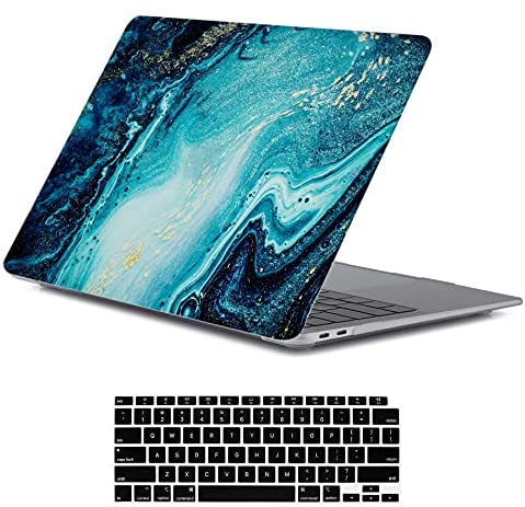 Read more about the article LanBaiLan Compatible for New MacBook Air 13 inch 2020 2019 2018 Release A2337 M1 A2179 A1932 Retina Display with Touch ID Laptop Plastic Hard Shell Protective Case & Keyboard Cover, Blue Gold Marble