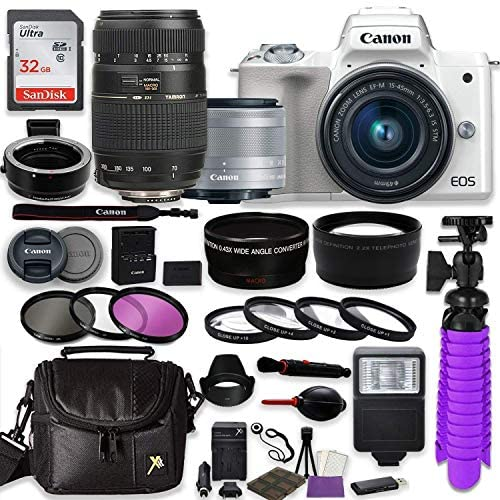 Read more about the article Canon EOS M50 Mirrorless Digital Camera (White) Bundle w/Canon EF-M 15-45mm is STM & Tamron 70-300mm Di LD Lenses + Auto (EF/EF-S to EF-M) Mount Adapter + Gadget Bag + Accessories