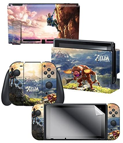 """Read more about the article Controller Gear Officially Licensed Nintendo Switch Skin & Screen Protector Set – The Legend of Zelda – Breath of the Wild """"Link Hilltop View"""" – Nintendo Switch"""