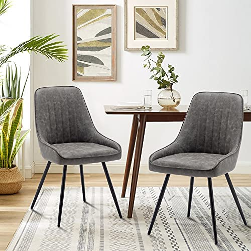 Read more about the article Alunaune Upholstered Dining Chairs Set of 2 Modern Faux Leather Armless Accent Chairs Mid Century Leisure Chair Kitchen Living Room Desk Side Chair with Metal Legs-Grey