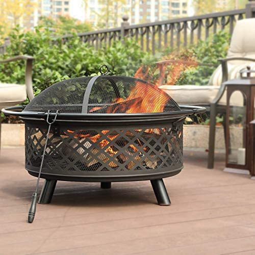 Read more about the article Sophia & William Outdoor Wood Burning Fire Pit Round 32″ Heavy Duty, Large Patio Steel Bonfire BBQ Grill Firepit with Dense Mesh Spark Lid and Fire Poker for Outside Backyark, Black