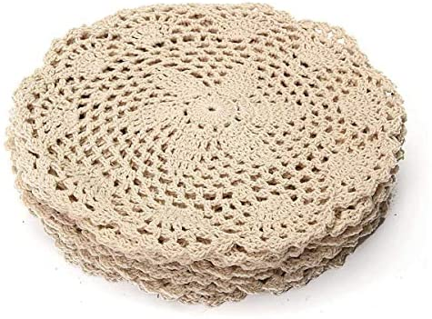 Read more about the article TRANTRANG 12Pcs Vintage Cotton Mat Round Hand Crocheted Lace Doilies Flower Coasters Lot Household Table Decorative Crafts Accessories