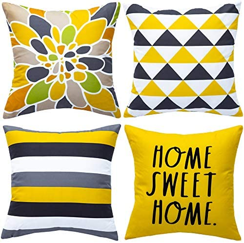 Read more about the article WLNUI Set of 4 Decorative Pillow Covers 18×18 Inch Yellow Geometric Modern Throw Pillow Covers Home Sweet Home Decorative Square Cushion Case for Sofa Couch Chair Farmhouse Home Decor