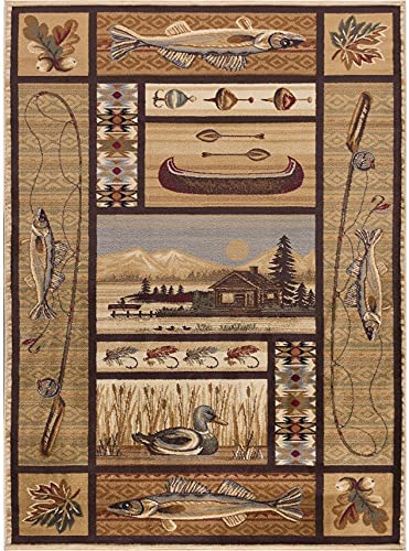 """Read more about the article Alise Rugs Natural Lodge Novelty Lodge Area Rug 5'3"""" x 7'3"""" 5′ x 8′ Indoor Living Room, Bedroom, Dining Room Rectangle"""