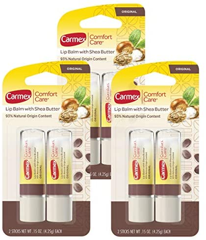 Read more about the article Carmex Comfort Care Lip Balm Stick with Shea Butter – 0.15 OZ, 2 Count (Pack of 3)
