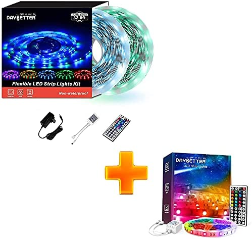 Read more about the article DAYBETTER 5050 RGB Flexible Color Changing Remote Control Led Strip Lights with Daybetter SMD 3528 Led Strip Lights (2 Rolls of 16.4ft) 32.8ft