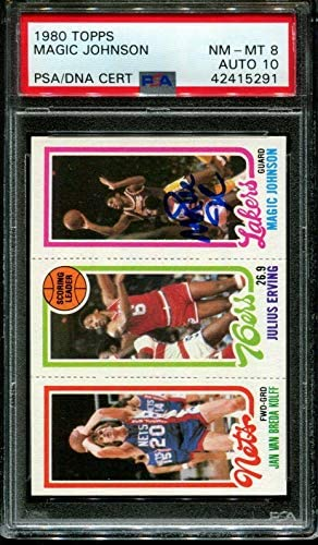 Read more about the article 1980 Topps Magic Johnson Rc-julius Erving-van Breda Kolff Psa 8 Dna Auto 10 – Basketball Slabbed Autographed Cards
