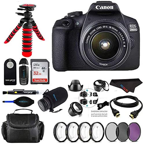 Read more about the article Canon EOS 2000D / Rebel T7 Digital SLR Camera w/ 18-55MM DC III Zoom Lens (Black) + Pixi Pro Bundle