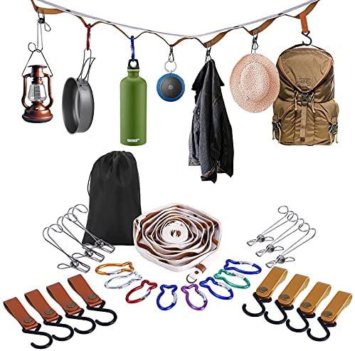 Read more about the article Campsite Storage Strap Camping Accessories, Outdoor Equipment Ten Lanyard Travel Clothesline Camping Essentials with 16 Buckle & 6 Clothespins for Camper Family RV Trailer Travel Tent Hanging Gear