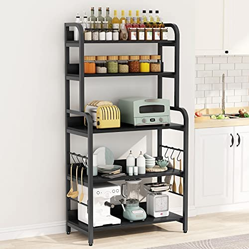 Read more about the article Tribesigns Baker's Rack with 6 Hooks, 5-Tier Kitchen Microwave Oven Stand Rack, Industrial Utility Cart Storage Shelf, Floor Standing Spice Rack Organizer Workstation, Black