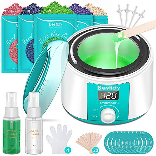 Read more about the article Bestidy Waxing Kit for Women and Men Home Wax Warmer with 5 Pack Hard Wax Beans Hot Wax Hair Removal for Brazilian Body Underarm Bikini Chest Legs Face Eyebrow