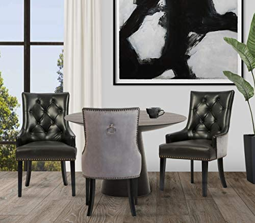 Read more about the article Iconic Home Cadence Dining Side Chair Button Tufted PU Leather Velvet Polished Brass Nailheads Espresso Finished Wooden Legs, Black, Modern Transitional