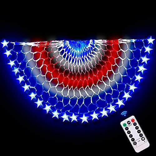 Read more about the article American Flag Lights, 240 LED Lights, 4×2 Ft USA Pleated Fan Flag with Remote Timer 8 Flash Mode Indoor and Outdoor Available, Outdoor Lighting, Christmas, Garden, Party