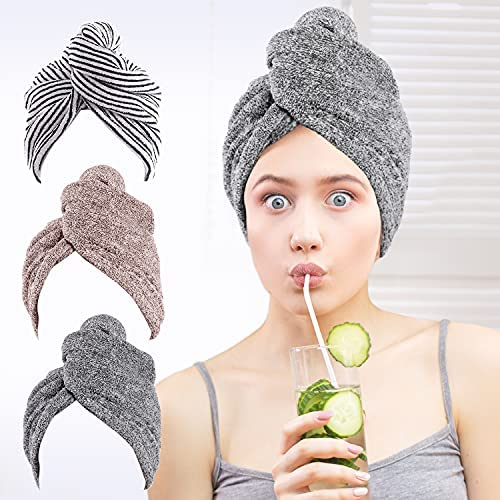 Read more about the article Microfiber Hair Towel Wrap, 3 Pack UMUM Bamboo Hair Towel Turban with Button, Quick Hair Drying Towels for Women Anti Frizz, Super Absorbent Quick Dry Hair Turban for Drying Curly, Long & Thick Hair