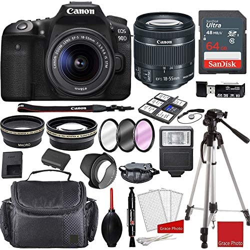 Read more about the article Canon EOS 90D DSLR Camera with EF-S 18-55mm f/3.5-5.6 STM Lens Bundle + Sandisk 64GB Memory + Professional Accessory Bundle