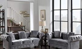 2 Pieces Living Room Sofa Set, Couch Furniture Tufted Velvet Upholstered Sofa Roll Arm Classic Chesterfield Sofa Set with 5 Pillows for Living Room, Office and Small Space (Grey, 2 Seat+3 Seat)