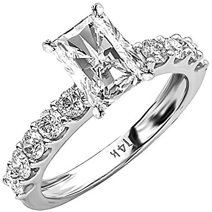 Read more about the article 4 Ctw 14K White Gold Classic Side Stone Prong Set Radiant Cut GIA Certified Diamond Engagement Ring (3 Ct H Color SI2 Clarity Center Stone)