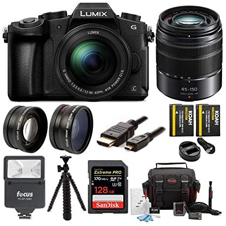 Read more about the article Panasonic LUMIX G85 4K Mirrorless Camera with G Vario 12-60mm and 45-150mm Lens, 128GB SD Card, Camera Bag, Battery and Dual Charger, 58mm Lens Set, Digital Flash, Tripod and Cable Bundle (9 Items)