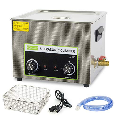 Read more about the article Commercial Ultrasonic Parts Cleaner 15L, ONEZILI 360W Stainless Steel Ultrasonic Cleaner with Heater Timer Knob Control for Cleaning Carburetor Guns Brass Parts Jewelry Watches Dentures Glasses