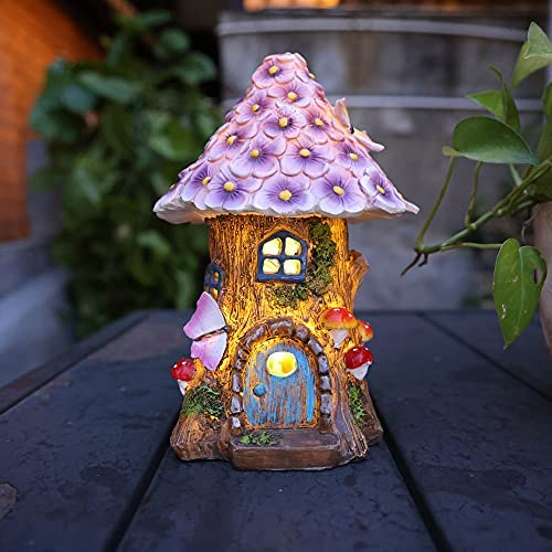 Read more about the article AnnaStore Fairy Garden House Solar Garden Statues Sculpture Outdoor Miniature Figurine Treehouse Decor Lawn Yard Ornaments Decoration Gift Ideas 8″ Tall