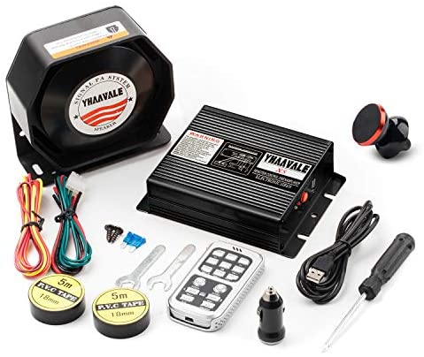 Read more about the article YHAAVALE Car Electronic Emegency Siren,Black X5 Amplifier & Metal Ultra Slime Octagon Compact Flat Speaker,DC12V 100W Multi-Tones Wireless Remote Control with Mic Loudspeaker PA System