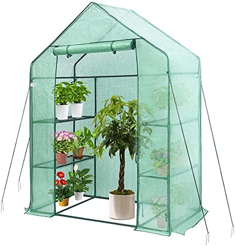 Read more about the article Greenhouse, Hanience Walk-in Greenhouse with Anchors and Ropes, 3 Tier 4 Wired Shelves Indoor and Outdoor Greenhouse for Garden/Patio/Backyard/Balcony, Green PE Cover