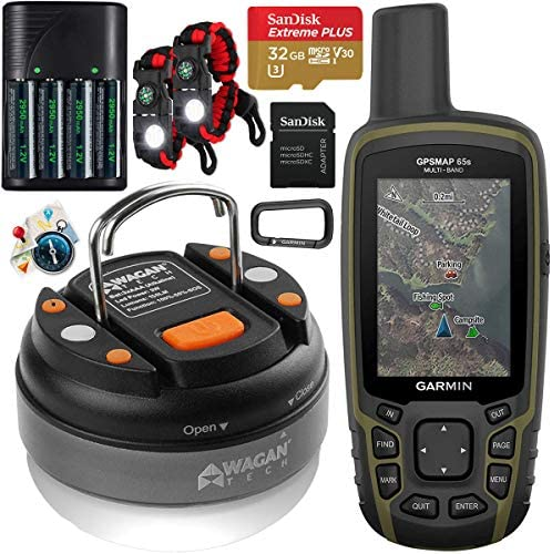 Read more about the article Garmin GPSMAP 65s Handheld Hiking Outdoor GPS Navigator with ABC Sensors U.S. & Canada Maps GNSS Satellite Multi-Band Rugged Bundle w/Deco Gear Emergency Bracelets + LED Lantern + Rechargeable AA Kit