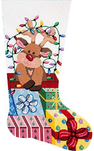 Read more about the article Alice Peterson Home Creations Holiday Edition Needlepoint Stocking Kit- Gift Wrapped Reindeer – Large, Deluxe Size
