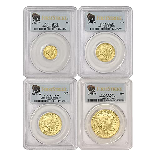 Read more about the article 2008 W Set of 4 American Gold Buffalos SP-70 First Strike by CoinFolio SP70