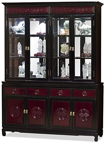 Read more about the article China Furniture Online Rosewood Oriental China Cabinet, 60 Inch, Longevity, Dark Cherry and Black