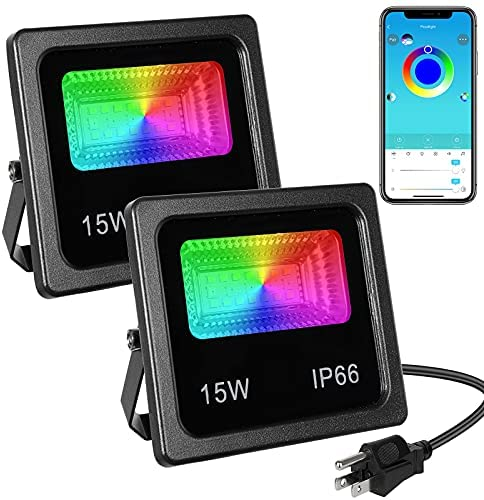 Read more about the article Led Flood Light 100W Equivalent,Outdoor Color Change Led Stage Landscape Lighting,15W RGB Bluetooth Smart Floodlights APP Control,16 Million Colors,Timing Music Sync,IP66 Waterproof,US 3-Plug(2 Pack)