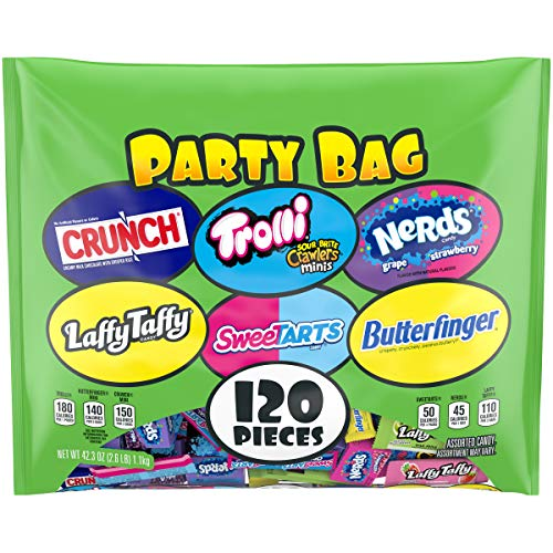 Read more about the article Party Bag Candy Mix – Individually Wrapped 120 Pieces Of Crunch, Laffy Taffy, Trolli, SweeTARTS, Nerds & Butterfinger Candy