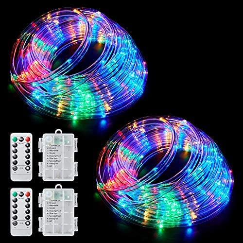 Read more about the article Ollivage Color Changing Rope Lights String Lights for Bedroom, Battery Powered Light Strip 40ft 8 Modes Hanging Fairy Lights with Remote for Camping Halloween Christmas, 2 Pack