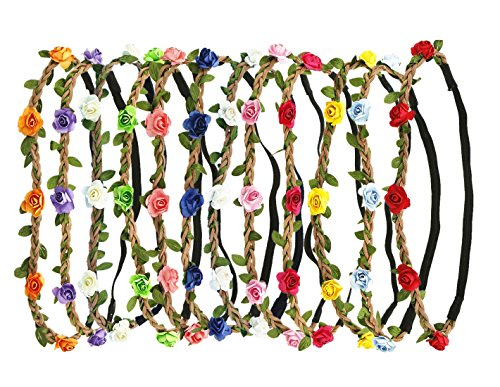 Read more about the article 12 PCS Paper Rose Flower Headband Boho Flower Floral Crown Garland Headdress For Women