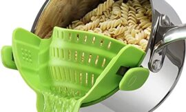 Geniusidea Clip on Pot Strainer Silicone Pasta Colander Heat Resistant for Spaghetti Grease Fruit Fits Most Pans Bowls Kitchen Gadgets Chef Gifts