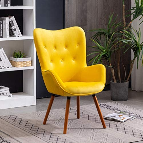 Read more about the article Roundhill Furniture AC155YL Doarnin Silky Velvet Tufted Button Accent Chair, Yellow