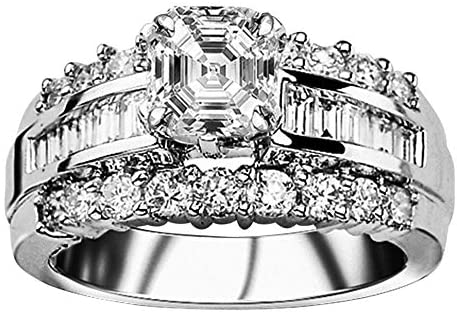 Read more about the article 3.52 Ctw 14K White Gold Channel Baguette Round GIA Certified Designer Diamond Engagement Ring Asscher Shape (2.52 Ct E Color VS2 Clarity Center Stone)