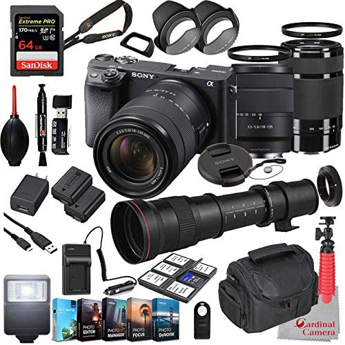 Read more about the article Sony Alpha a6400 Mirrorless Camera with 18-135mm and 55-210mm Lenses Bundle + Extreme Speed 64GB Memory + T-Mount 420-800mm Telephoto Zoom Lens (33 Items)