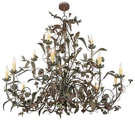 Read more about the article Meyda Tiffany 159623 Transitional 15 Light Chandelier from Le Printemps Collection in Bronze/Dark Finish, 60.00 inches, Natural Wood,Tarnished Copper