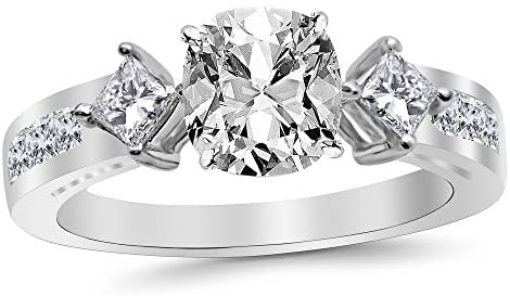 Read more about the article 3.75 Ctw 14K White Gold Channel Set 3 Three Stone Princess GIA Certified Diamond Engagement Ring Cushion Cut (3 Ct H Color VS2 Clarity Center Stone)