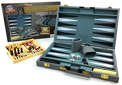 Read more about the article Matty's Toy Stop Deluxe 15″ Backgammon Briefcase (Vinyl Gray Attache) with 3-in-1 Chess, Checkers & Backgammon Wooden Travel Games Set (8″)