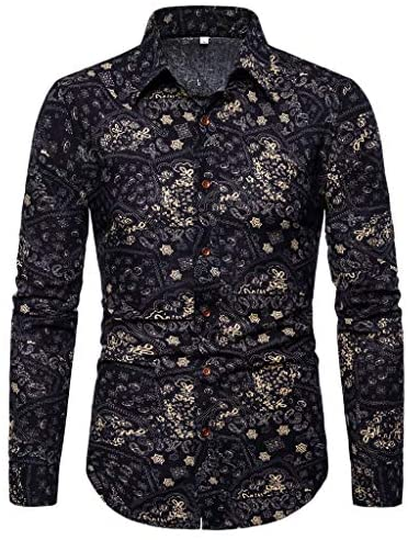 Read more about the article FIN86 Men's Fashion Casual Blouse,Men's Summer Fashion Business Leisure Printing Long-Sleeved Shirt Top Blouse