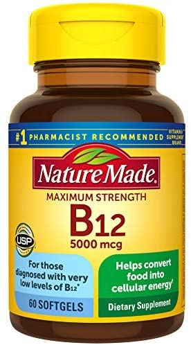 Read more about the article Nature Made Maximum Strength Vitamin B12 5000 mcg Softgels, 60 Count